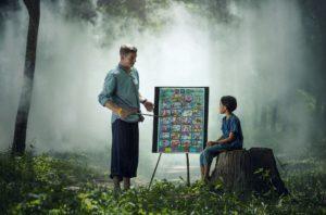自然の中で教える先生と生徒