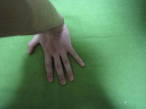 反転した床に手をつく左手